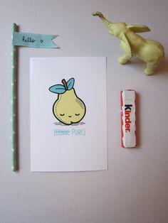"Carte Kawai ""Bonne poire"" 10X15 on etsy French card on etsy!"
