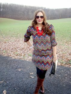 "Zig Zag Chevron Dress, Tights, Boots  #curvy    ""if you like my curvy girl's fall/winter closet, make sure to check out my curvy girl's spring/summer closet.""   http://pinterest.com/blessedmommyd/curvy-girls-springsummer-closet/pins/"