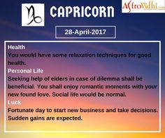 Read Your Free Capricorn Daily Horoscope (28-April-2017). Read detailed horoscope at astrovidhi.com. Sagittarius Daily Horoscope, Free Daily Horoscopes, Aquarius Daily, Leo Zodiac, Scorpio, Sailing Day, Feeling Fatigued, Meeting Someone New, Scorpion