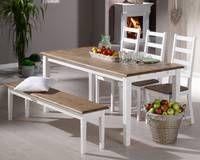Dänisches Bettenlager Set »Paris« (Tisch, 3 Stühle und 1 Bank) <3