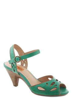 Moss Definitely Heel by Miz Mooz - Green, Solid, Cutout, Mid, Peep Toe, Daytime Party, Vintage Inspired, Leather. if it goes on sale..