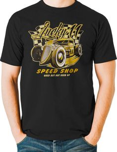 Rat Rod T Shirts Lucky Hot Rod Speed Shop Junkyard Race Car Mens Small to 6XL #PitStopShirtShop #GraphicTee