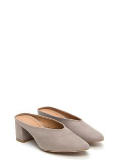 3fe8a6ad0040 Around The Block Chunky Mule Heels GREY