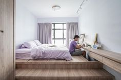 Check out this Minimalistic-style HDB Bedroom and other similar styles on Qanvast. Room Design Bedroom, Small Bedroom Designs, Small Room Design, Home Room Design, Small Room Bedroom, Home Decor Bedroom, Bed Design, Home Interior Design, Bedroom Signs