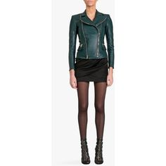 Balmain Leather biker jacket featuring polyvore, fashion, clothing, outerwear, jackets, green, real leather jacket, green motorcycle jacket, white jacket, motorcycle jacket and leather jacket