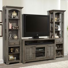 Parker House Furniture Austin 3 Piece Entertainment Wall Unit w/ Louvered Doors in Earl Grey #dynamichome #wallunit #tv #stand #entertainment #center #grey #rustic #cottage #traditional #coastal #shutter #louver #storage #organization #livingroom #greatroom #homedecor #interiors #interiordesign #media #audiovideo #inspiration