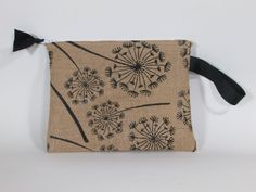 Cosmetic Bag Handmade Burlap Floral Print with Vinyl Lining | Makeup Bag | Toiletry Bag | Zipper Pouch | Cosmetic Case