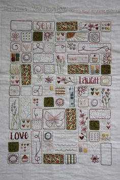 Embroidery Sampler, Simple Embroidery, Hand Embroidery Patterns, Cross Stitch Embroidery, Scrap Fabric Projects, Quilting Projects, Sewing Art, Hand Sewing, Embroidered Quilts