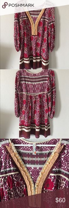 Free People Floral Hippie Dress This super feminine and boho dress will make you feel like a Woodstock babe! Perfect for Spring and Summer 🌸💖 Brand new condition Free People Dresses Mini