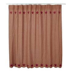 Add our Burgundy Star Scalloped Shower Curtain to your bathroom for a quick redo! https://www.primitivestarquiltshop.com/products/burgundy-star-scalloped-shower-curtain #primitivebath