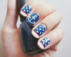 nautical nail art tutorial Inspiration red blue dots anchor