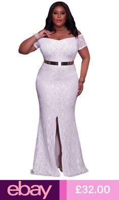 3e959af3af Elapsy Womens Plus Size Off Shoulder High Slit Floral Maxi Party Evening  Long Dress