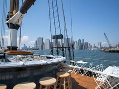 Pilot is the second nautical-themed seafood effort aboard a boat from brothers Alex and Miles Pincus of Tribeca's seasonal hit Grand Banks. Now in Brooklyn Heights (at Pier 6 in Brooklyn Park Bridge), they've docked a handsomely restored1920s racing schooner that's decked out with white folding tables and two central bars where patrons can try oysters and lobster rolls by Eleven Madison Park alum Kerry Heffernan, alongside citrus and rum-forward libations. Drop by now until October.