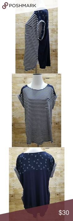 """Belle Du Jour nautical anchor roll sleeve top Who's ready to go sailing? Or hit the beach?  This fabulous navy blue top by Belle Du Jour is EUC, size L, with stripes and anchors!!  Who can resist anchors?!! Cute rolled sleeves.  Measurements:(Approximate flat lay) Armpit to armpit is about 20"""" Shoulder to bottom hem is about 24 1/2"""" Belle Du Jour Tops Tees - Short Sleeve"""