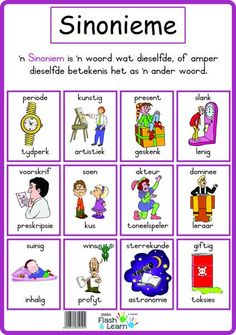Sinonieme Preschool Learning Activities, Speech Therapy Activities, Kids Learning, Afrikaans Language, 1st Grade Math Worksheets, Afrikaans Quotes, School Fun, School Teacher, Teaching Aids