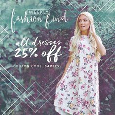 With 25% off ALL DRESSES, this weeks Weekly Fashion Find is one of our BEST yet!! Enter code: save25 in the coupon code box to receive your discount! AND don't forget the shipping is always FREE! Ready, Set, SHOP! || Bella Ella Boutique