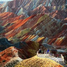 Geological phenomenon known as Danxia landform, China. This example is located in Zhangye, Gansu Province. The color is the result of an accumulation for millions of years of red sandstone and other rocks.