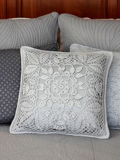 Relax in luxury with this sparkling Silver Leaf Pillow Set that includes a Lacy Leaf Pillow and a So Crochet Cushion Cover, Crochet Cushions, Crochet Pillow, Cushion Covers, Pillow Covers, Diy Pillows, Accent Pillows, Decorative Pillows, Decorative Accents