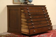 SOLD - Oak 1890's Antique 8 Drawer Map Chest, Document or Drawing File Cabinet - Harp Gallery Antique Furniture