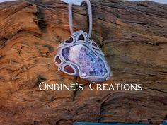 Rough Sodalite, Red Fluorite Mineral Crystal Hand Crafted Pendant  #144 by OndinesCreations on Etsy