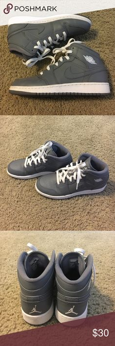 Hi-Top Air Jordans Super comfy J's! Has white laces. Worn one time. Too small for me. In excellent condition. From a smoke free home. Nike Shoes Sneakers
