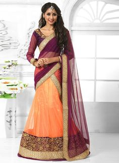 Sensible colors and excellent designs and romantic moods are reflected with an alluring style. Looking amazing with attachment of peach net a line lehenga choli. This attire is nicely designed with em...