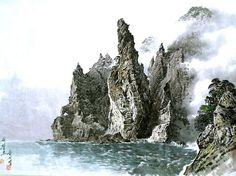 (North Korea) Mt Geumgang by Song Si-yeop (1934~   ). Korean painting.