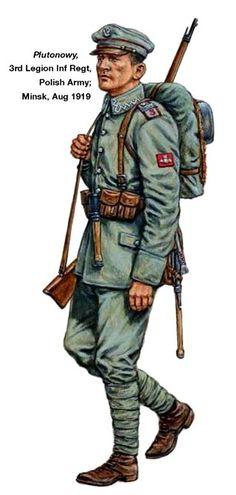1919 Plutonowy 3 Regimiento de infantería legionario Russo-Polish War 1919 - 1921.