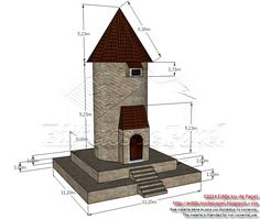 Medidas teóricas reales de la torre.  Free style tower in stone and wood, designed to be used in medieval sceneries.