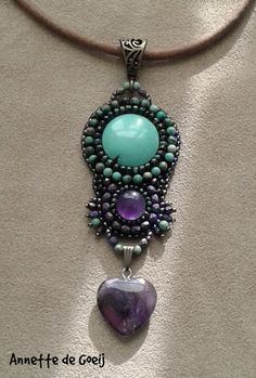 Bohemian style, boho necklace, turquoise necklace with an amethyst heart