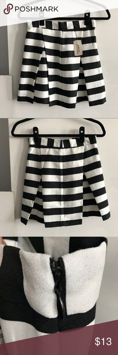 Forever 21 Striped Skirt DETAILS Cute black and white striped skirt with pleats that gives the skirt a bouncier, fuller look.   CONDITION Brand new, never worn. Forever 21 Skirts Mini