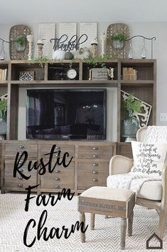 Add #rustic farm charm to your living room with the Keeblen entertainment center. This piece will add eclectic character and retro charm to your farmhouse. Add greenery and accessories to complete the look