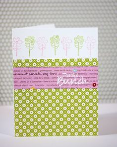 embossed sentiment over text - cute idea