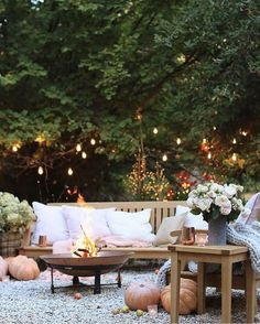 A little bit of this & that & a touch of whimsy. this autumn patio styling is soft with blush and twinkle lights- and bold with a pop of… Outdoor Spaces, Outdoor Living, Outdoor Decor, Rooftop Restaurant, Restaurant Design, French Country Cottage, Country Chic, Autumn Cozy, Backyard