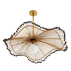 Old world techniques are brought into play with this naturally unique pendant. An array of buri sticks bound with thin pieces of rattan flow from an antique brass steel stem into a wavy, parasol-esque shape. Woodbeads trim the slightly askew foundation, e Deck Lighting, Shop Lighting, Pendant Lighting, Accent Lighting, Interior Lighting, Modern Lighting, Pendant Lamp, Ceiling Fixtures, Ceiling Lights