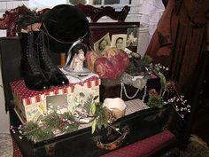 Christmas suitcase display