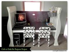 re-purpose a baby crib to kids' desk