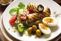 ricotta filled eggplant, salade and egg recipe by: Jill Dupleix