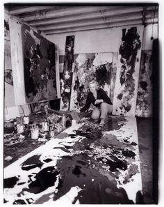 Gillian Ayres in her studio, 1958