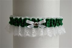 Emerald Satin Garter with White Lace