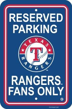 """MLB Texas Rangers Plastic Parking Sign by Fremont Die. $10.65. Printed with MLB team logos. Measures 12 by 18 inches. Officially licensed MLB product.. Made from plastic. Show your team spirit proudly with this MLB 12"""" X 18"""" Parking Sign. Each 12"""" x 18"""" parking sign is made of durable styrene. The officially licensed parking signs are decorated in the team colors, great for decorating home, office or dorm.. Save 69%!"""