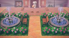 life on iris falls — the neat little plaza that leads to my residential. Animal Crossing 3ds, Animal Crossing Qr Codes Clothes, Plaza Design, Ac New Leaf, Fountain Design, Motifs Animal, Fanarts Anime, Animal Games, Island Design