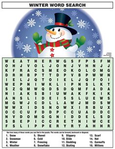 December 22nd is the first day of winter!  How many words related to winter can you find in the puzzle below?  Click here to download and print the puzzle