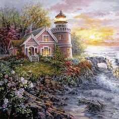 Nicky Boehme Solid-Faced Canvas Print Wall Art Print entitled Seafarer's Vigilant Sentry, None Painting Prints, Wall Art Prints, Canvas Prints, Framed Prints, Lighthouse Painting, Image Nature, Images Vintage, Cottage Art, Thomas Kinkade