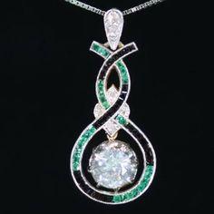 Art Deco pendant with typical Art Deco color combination white green black