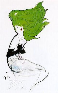 Galliano's Inspiration for Christian Dior Couture Spring 2011 Collection: René Gruau – Swing Fashionista Christian Dior Couture, Balmain, Rene Gruau, Vintage Fur, Vintage Stuff, Italian Fashion, Line Art, Fashion Art, Fashion Photo