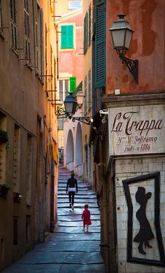 Street scene in the old town part of Nice on the Cote d'Azur, France