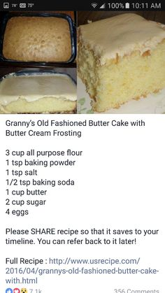 me ~ Butter Cake Delicious Cake Recipes, Cake Mix Recipes, Yummy Cakes, Sweet Recipes, Baking Recipes, Cookie Recipes, Dessert Recipes, Yummy Food, Tasty