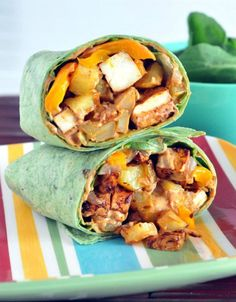 Chipotle Tofu Potato Burrito with Chipotle Mayo - packed with veggies, protein, and flavor, this tasty hand held makes a perfect lunch you will crave daily! @spabettie