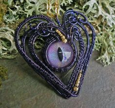 Steampunk Embellishments | Gothic Steampunk Purple Evil Cat Eye by twistedsisterarts on Etsy